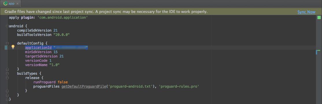 Android - Modificare Gradle Build File, solitamente app o mobile
