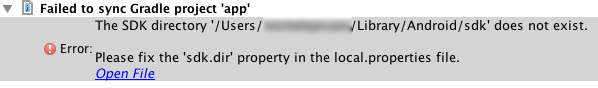 Android - Please fix sdk.dir property in the local.properties file