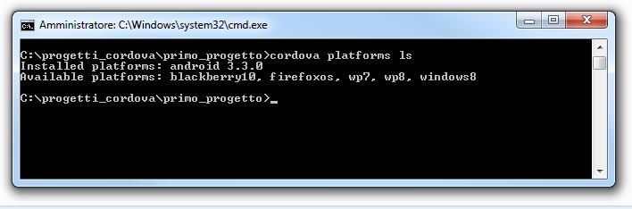 Apache cordova - Piattaforme installate ed installabili