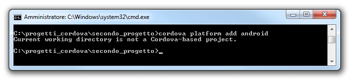 Apache cordova - Current working directory is not a Cordova-based project