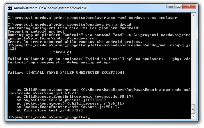 Android - Errore nell'installazione dell'apk sull'emulatore