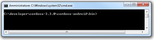 Apache cordova -CLI aperta al percordo indicato