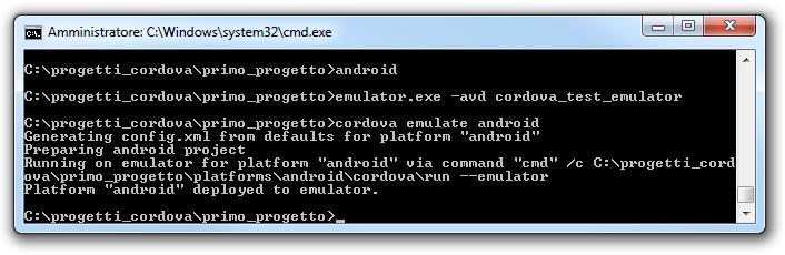 Android - Avvio dell'emulatore AVD per eseguire un progetto cordova