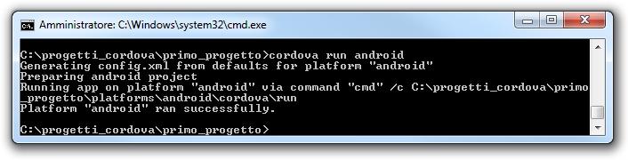 Apache cordova - Esecuzione di un progetto Android