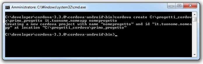 Apache cordova - Creazione di un nuovo progetto con il comando corretto