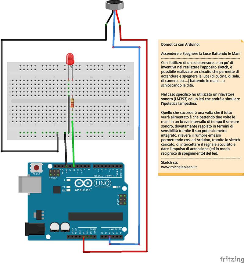 Arduino accendere e spegnere la luce battendo le mani
