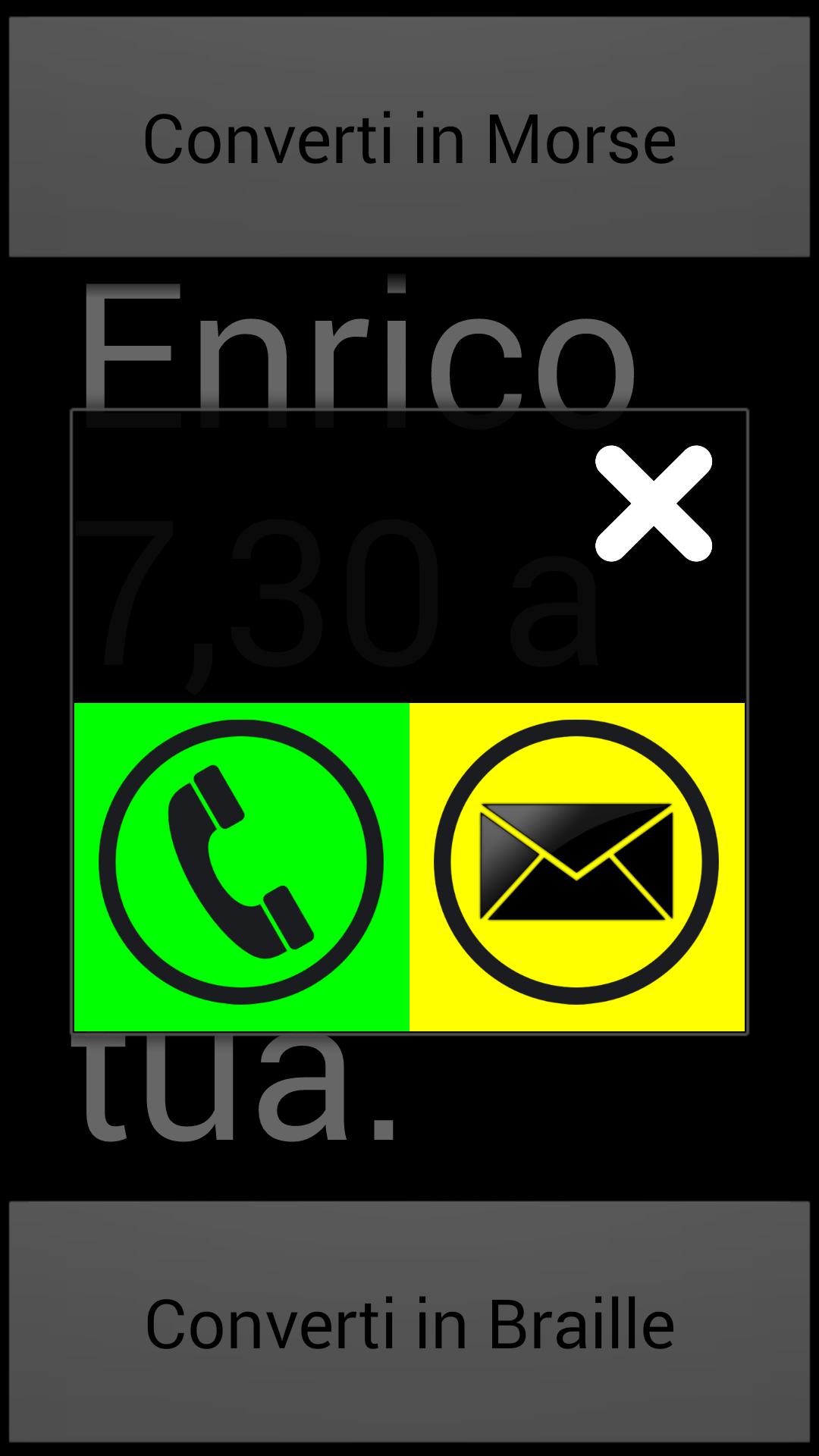 Blind SMS Reader - Finestra chiama o rispondi all'SMS modalità ipovedenti e non udenti