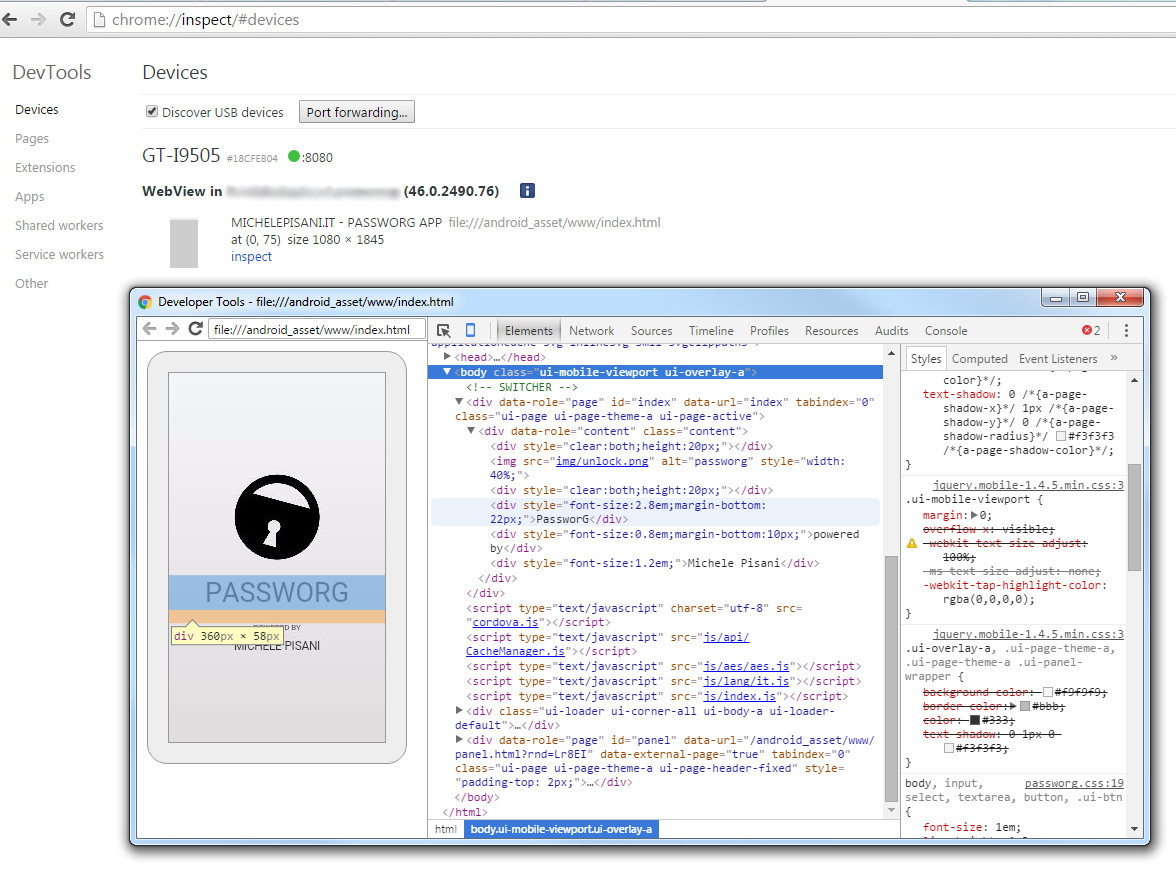 DevTools - Chrome inspect - console per gli sviluppatori