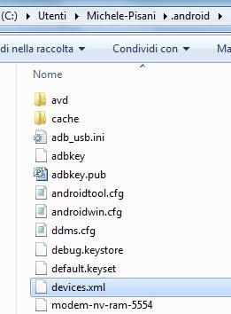 Android - Percorso del file devices.xml nel Path dell'utente di Windows
