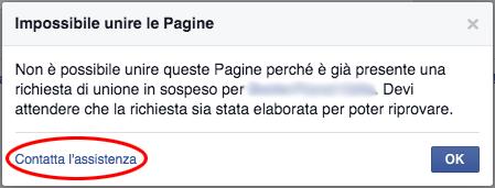 Facebook - Impossibile unire le pagine, contatta l'assistenza