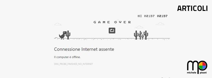 google chrome gioco nascosto dinosauro assenza connessione
