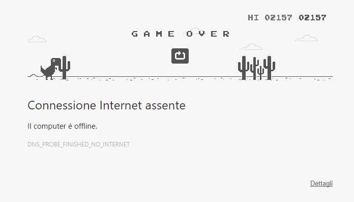 google chrome - il gioco del dinosauro quando manca la connessione