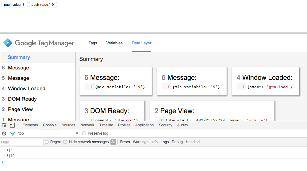 Google Tag Manager - metodo watch - push al dataLayer del secondo valore