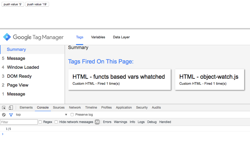 Google Tag Manager - metodo watch - push al dataLayer del primo valore