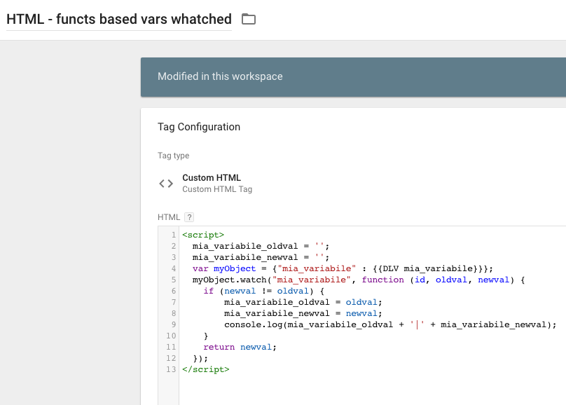 Google Tag Manager - metodo watch - Tag watched