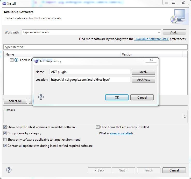 Android - Aggiunta di ADT plugin ad Eclipse