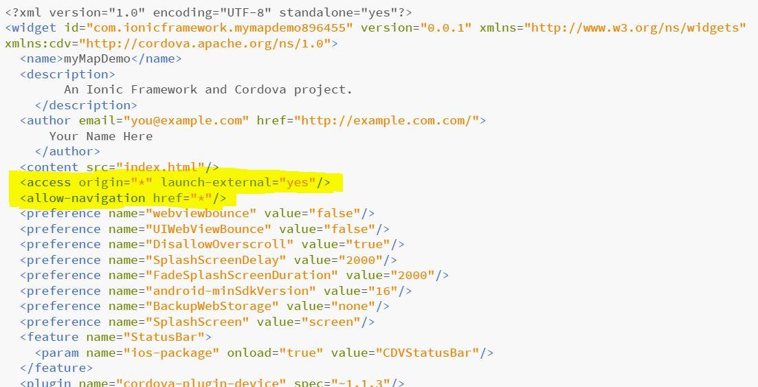 Ionic - file config.xml modificato abilitando i permessi di apertura di url esterni
