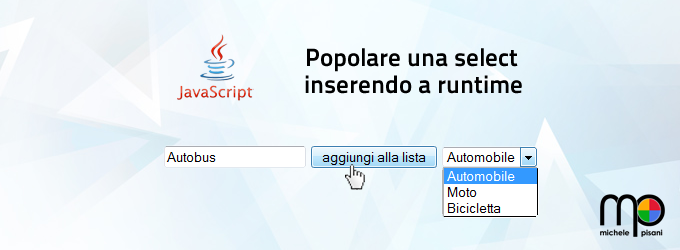 popolare una select box inserendo elementi a runtime in javascript puro