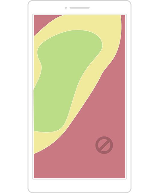 Note - Zone coperta tentando di raggiungere la parte superiore del display