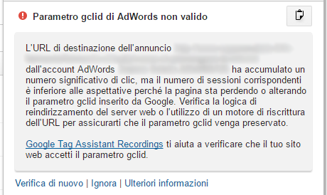 Google Analytics - Numero di clic significativo ma sessioni inferiori alle aspettative