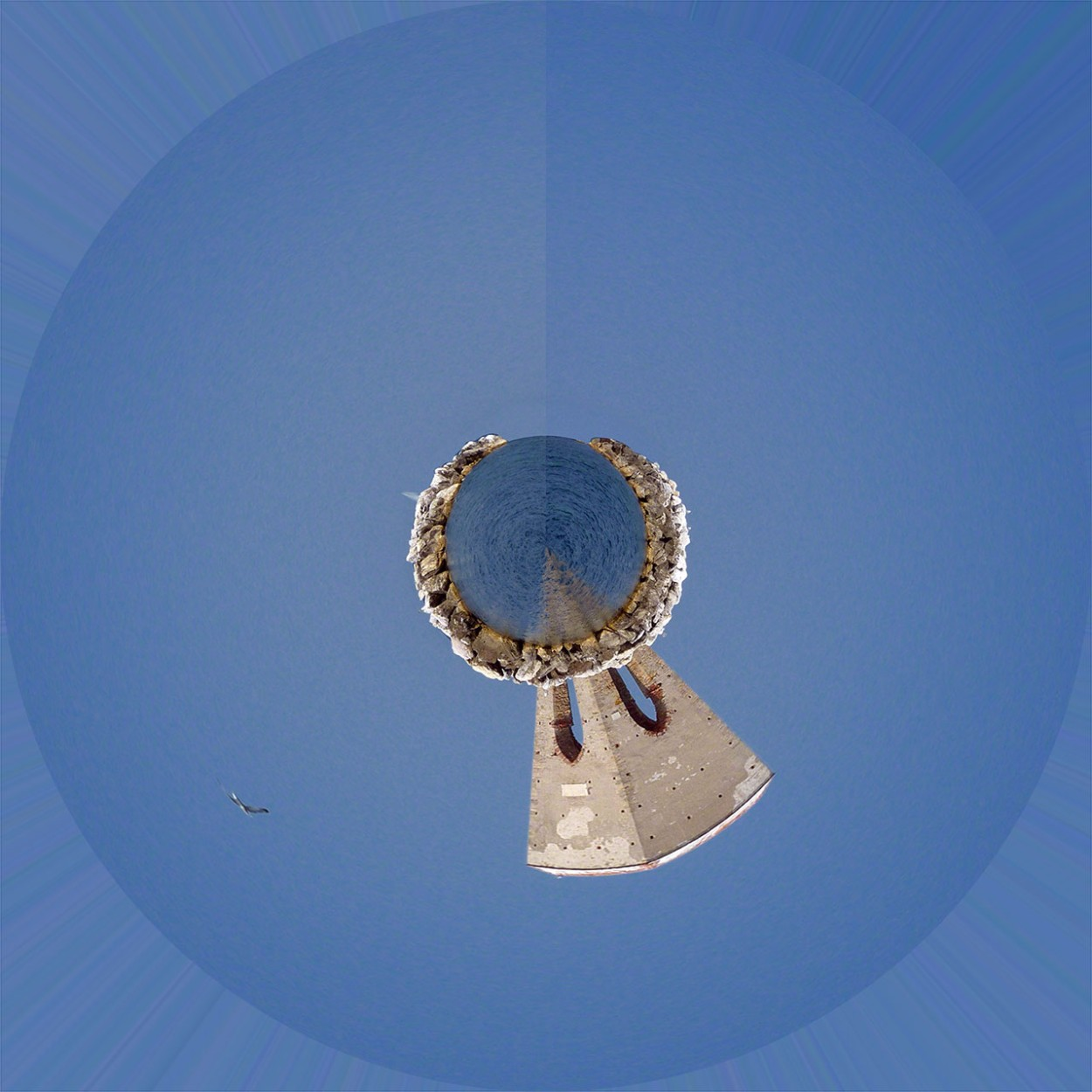 Creare un Pianeta con una foto con Photoshop in 3 Passaggi - pianeta con linea di congiunzione marcata