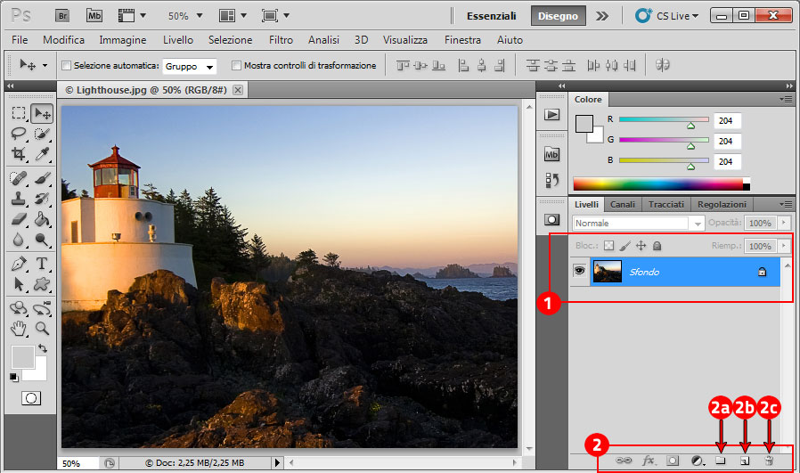 Photoshop -Come si presentano i livelli appena un'immagine è stata aperta