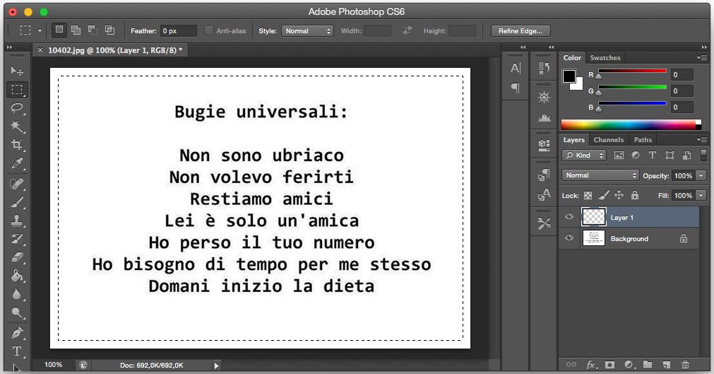 creare effetto vignettatura con photoshop - selezione immagine