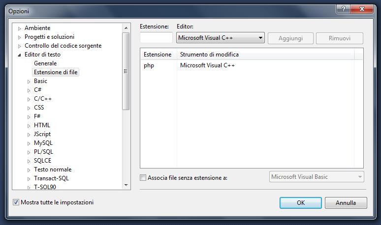 PHP - Schermata Opzioni di Visual Studio per colorare il codice con l'associazione a Microsoft Visual C++