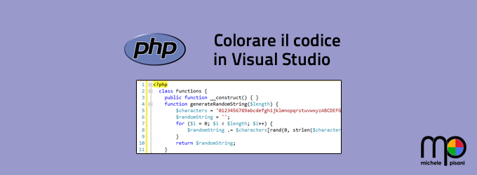 Sintassi colorata per PHP in Visual Studio