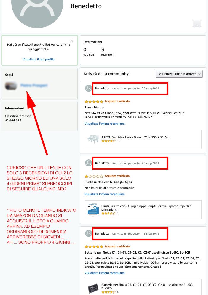 profilo fake di un recensore che fa astroturfing