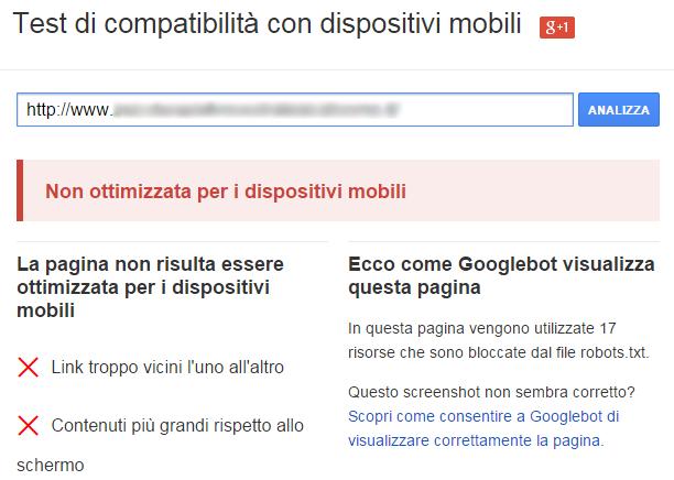 SEO - Test di compatibilità con dispositivi mobili - pagina non ottimizzata