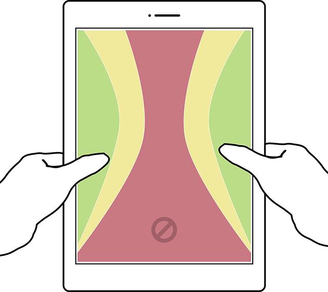 Tablet - Copertura pollice con impugnatura con una e due mani