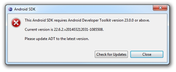 This Android SDK requires Android Developer Toolkit version 23.0.0 or above. Current version is... Please update ADT to the last version.