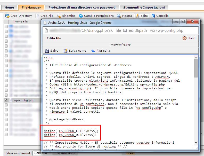 Wordpress - define FD_CHMOD_FILE 0755 e FD_CHMOD_FOLDER 0755