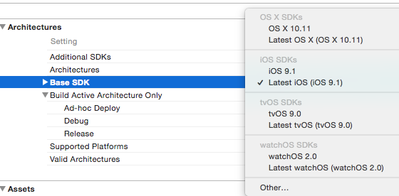 Xcode - Build Settings - Architectures - Base SDK - Latest iOS