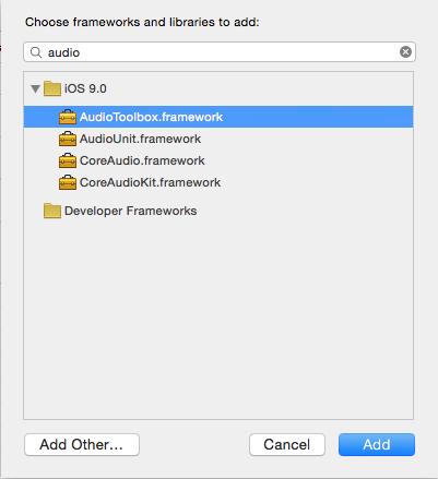 Xcode - Aggiungere il framework AudioToolbox al progetto iOS