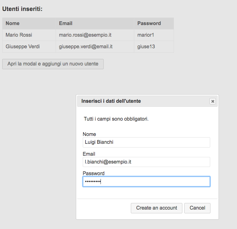 dialog box con form per l'immissione dati da parte dell'utente creata con jquery e jquery ui in una web app in apps script