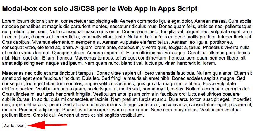 pagina html creata con apps script con bottone per aprire una modal box