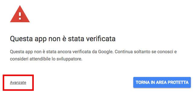 informazione di app non verificata da google
