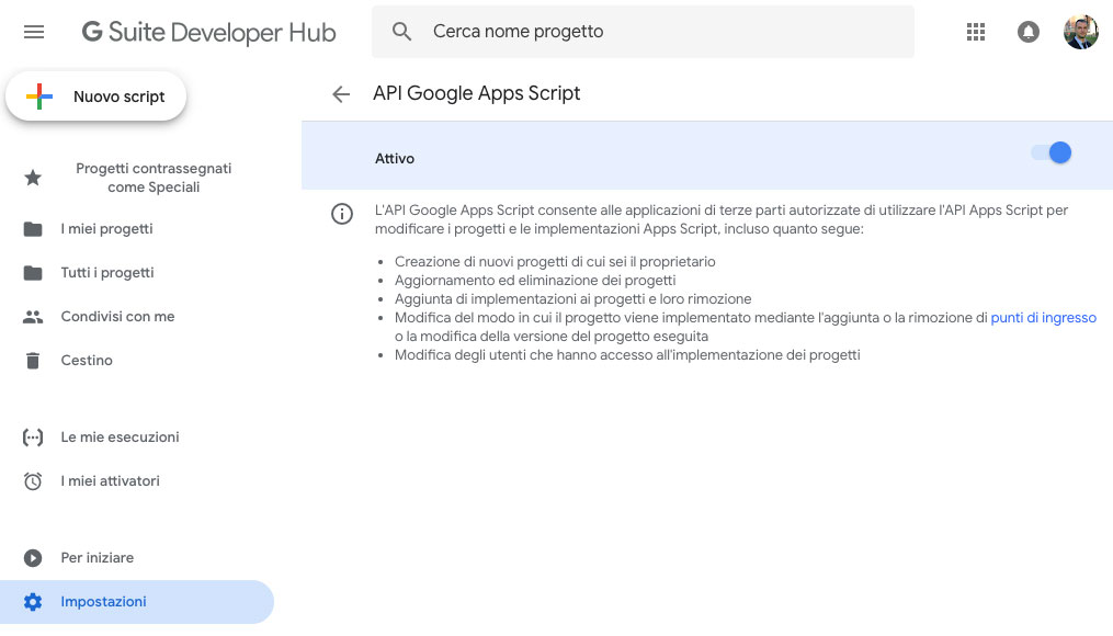 attivazione della API Google di Apps Script
