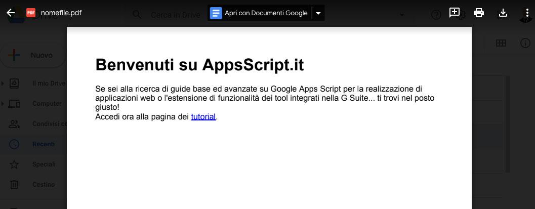 contenuto html salvato come file pdf in google drive