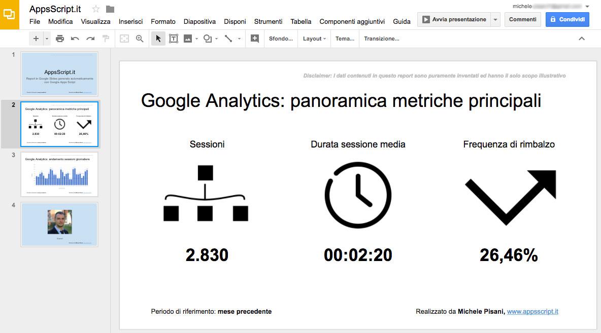 Presentazione in Google Slide creata con Google Apps Script