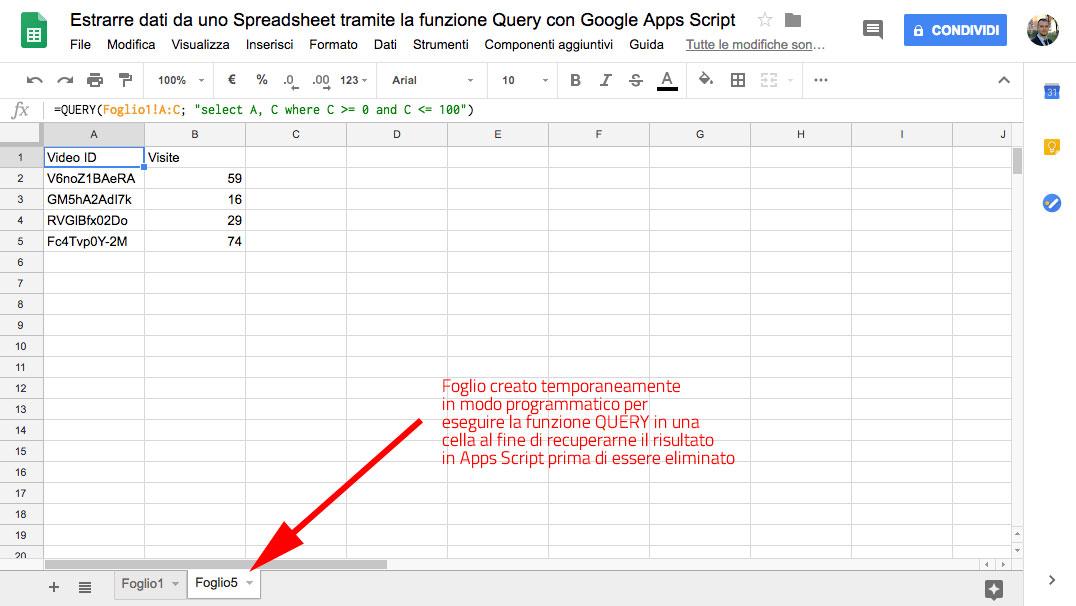 foglio creato temporaneamente in modo programmatico per eseguire la funzione query