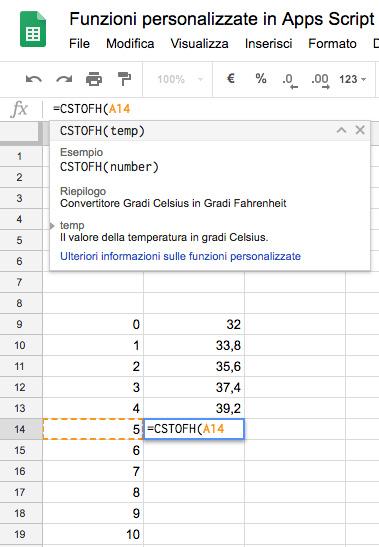 funzione personalizzata in spreadsheet con apps script