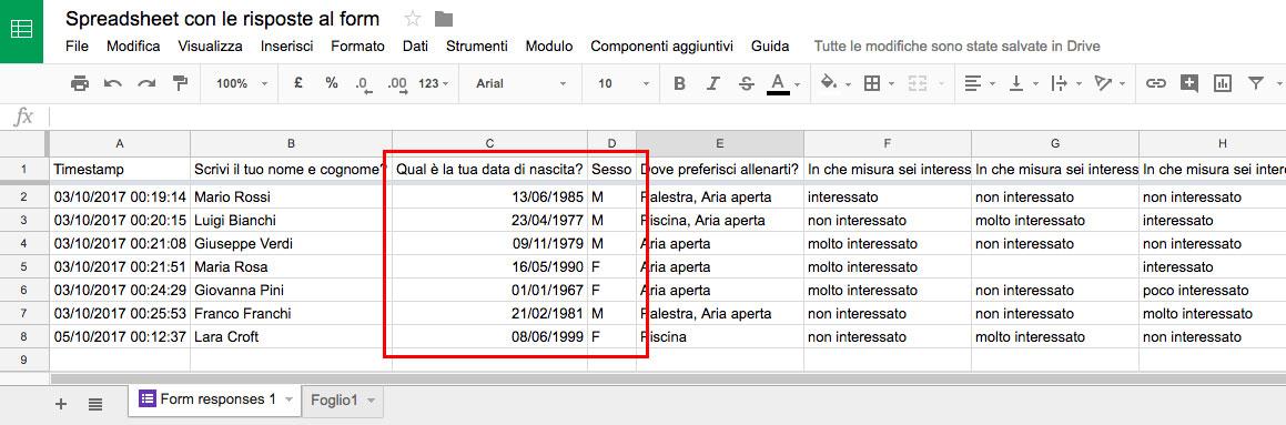 Esempio di uno Spreadsheet contenente le risposte ad un Google Form