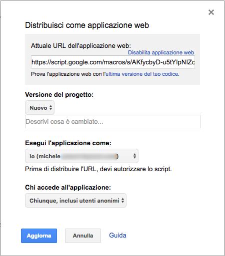 distribuzione di uno script google come applicazione web