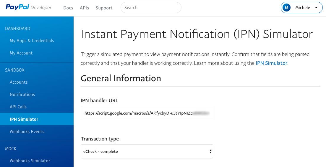 IPNSimulator sul sito di PayPal