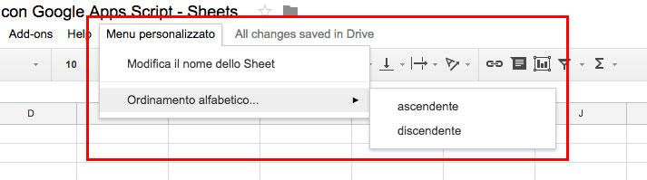 Menu personalizzato principale e secondario in uno Spreadsheet