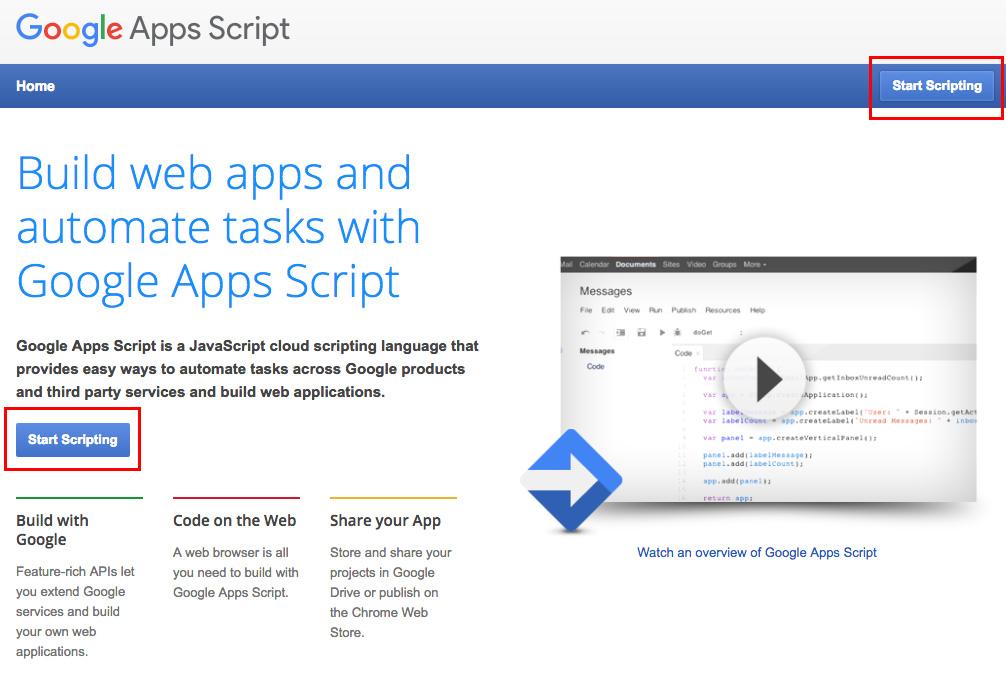 accesso all'editor di script di google apps script dalla relativa pagina di presentazione di google