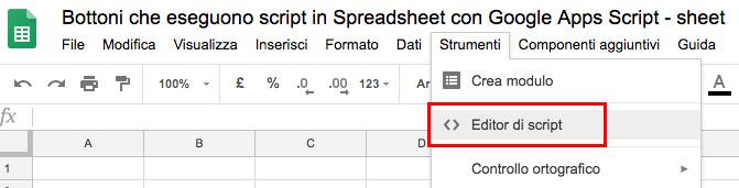 accesso all'editor di script di google apps script da spreadsheet come script associato